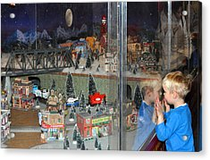 Boy And Christmas Trains Acrylic Print by Diane Lent
