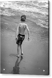 Boy At The Ocean Acrylic Print by Kelly Hazel