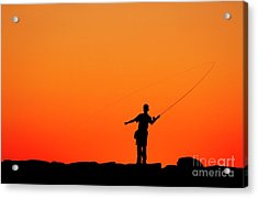Boy Fishing From A Jetty Acrylic Print
