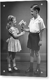Boy Giving Flowers To Girl Acrylic Print by George Marks