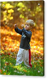 Boy In Fall Acrylic Print by Kevin Schrader