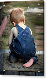 Boy In Overalls Acrylic Print by Kelly Hazel