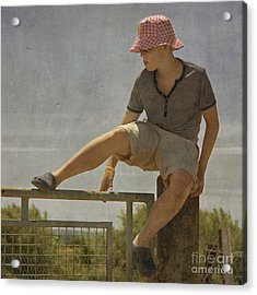 Boy On A Fence Waiting For Lance Armstrong Acrylic Print by Paul Grand
