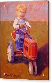 Boy On Tractor Acrylic Print by The Vintage Painter