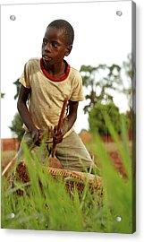 Boy Playing A Drum, Uganda Acrylic Print by Mauro Fermariello