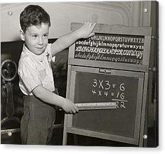 Boy Playing School Acrylic Print by George Marks