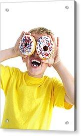 Boy Playing With Doughnuts Acrylic Print by Ian Boddy
