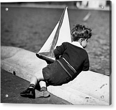 Boy Playing With Toy Sailboat Acrylic Print by George Marks
