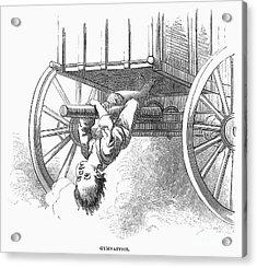 Boy Riding Under Wagon Acrylic Print by Granger