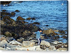 Acrylic Print featuring the photograph Boy Throwing A Stone Maine Coast by Maureen E Ritter