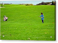 Acrylic Print featuring the photograph Boy With His Kite Maine by Maureen E Ritter