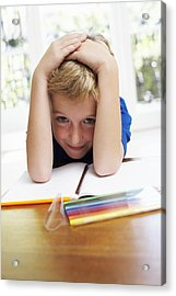 Boy With Pens And Exercise Book Acrylic Print by Ian Boddy