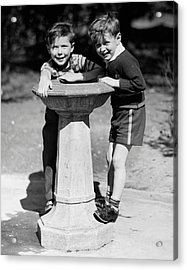 Boys At Drinking Fountain Acrylic Print by George Marks