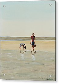 Boys Clamming Acrylic Print by Anthony Ross