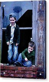 Boys In A Window Acrylic Print by Kelly Hazel