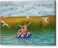 Boys Sharing With Laughing Gulls Acrylic Print by Jeanne Kay Juhos