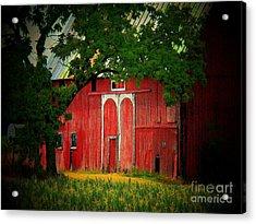 Branch Over Barn Door Acrylic Print by Joyce Kimble Smith