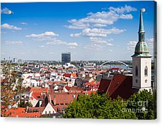 Acrylic Print featuring the photograph Bratislava Roofs by Les Palenik