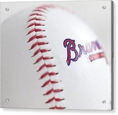 Braves Baseball Acrylic Print by Malania Hammer