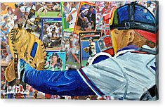 Braves Catcher Acrylic Print by Michael Lee