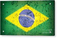 Brazil Flag Vintage Acrylic Print by Jane Rix