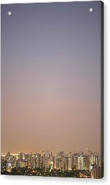 Brazil, Sao Paulo, Cityscape At Sunset, Elevated View Acrylic Print by Thomas Northcut