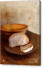 Bread On Rustic Plate And Table Acrylic Print by Jill Battaglia