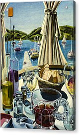 Acrylic Print featuring the painting Breakfast In Skradin by AnneKarin Glass