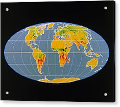 'breathing Earth' Co2 Input/output, Global Map Acrylic Print by Nasa