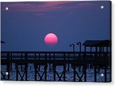 Breathtaking Sunset Over Calcasieu Lake Pier Acrylic Print by Debi York