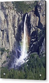 Bridal Veil Falls Rainbow In Yosemite Acrylic Print by Gregory Scott