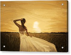 Bride In Yellow Field On Sunset  Acrylic Print by Setsiri Silapasuwanchai