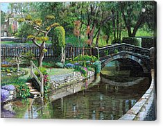 Bridge And Garden - Bakewell - Derbyshire Acrylic Print by Trevor Neal