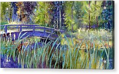 Acrylic Print featuring the painting Bridge At Habersham by Gertrude Palmer
