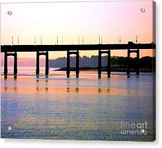 Acrylic Print featuring the digital art Bridge At Sunset by Dale   Ford