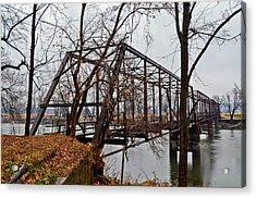 Bridge At Winter Acrylic Print by Brenda Becker