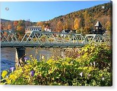 Bridge Of Flowers Morning Glory Autumn Acrylic Print by John Burk