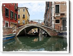 Bridge Over Gondola Acrylic Print by Judy Deist