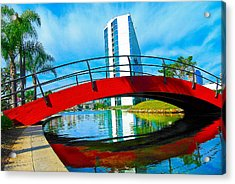 Acrylic Print featuring the photograph Bridge Over Rainbow Lagoon by Joseph Hollingsworth