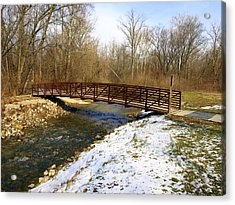 Bridge Over The Creek In Winter Acrylic Print by Mike Stanfield
