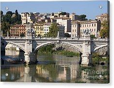 Bridge Ponte Vittorio II. River Tiber.rome Acrylic Print