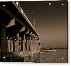 Bridge To The Moon Acrylic Print by Roger Wedegis