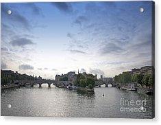 Bridges On River Seine. Paris. France Acrylic Print by Bernard Jaubert
