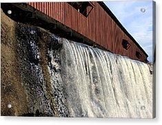 Bridgeton Covered Bridge And Waterfall No 1 Acrylic Print by Alan Look