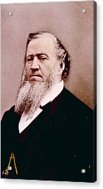 Brigham Young 1801-1877, Hand Colored Acrylic Print by Everett