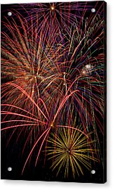 Bright Colorful Fireworks Acrylic Print by Garry Gay