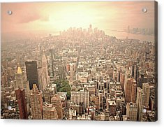Bright Financial District In Nyc Acrylic Print by Daniela Duncan