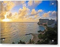 Bright Waikiki Sunset Acrylic Print by Tomas del Amo
