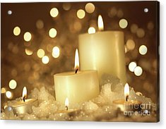 Brightly Lit Candles In Wet Snow Acrylic Print by Sandra Cunningham