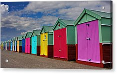 Brighton Beach Huts Acrylic Print by Phil Clements